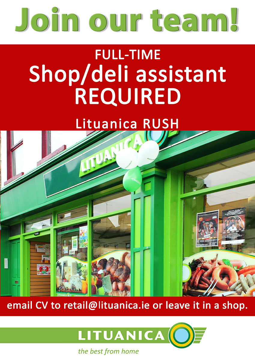 SHOP ASSISTANTFULL TIME RUSH